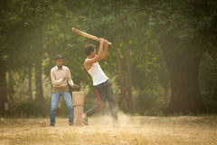 AGRA, INDIA - JAN 09: Young boys playing cricket in a parc of Ag Stock Photography