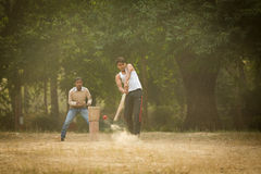 AGRA, INDIA - JAN 09: Young boys playing cricket in a parc of Ag Royalty Free Stock Image