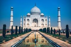 AGRA, INDIA - NOVEMBER 8, 2017: Taj Mahal scenic view in Agra, India.