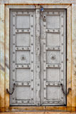 Agra, India. The old gray wooden door Stock Photo