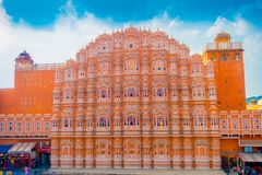Agra, India - September 20, 2017: Hawa Mahal is a five-tier harem wing of the palace complex of the Maharaja of Jaipur Royalty Free Stock Photo