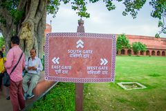 Agra, India - September 20, 2017: Informative sign in the garden near Darwaza-i-Rauza in Chowk-i Jilo Khana at Taj Mahal Stock Images