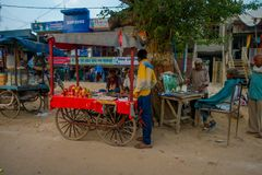 AGRA, INDIA - SEPTEMBER 19, 2017: Unidentified man selling food in the streets in central city in Agra, India.  Royalty Free Stock Image