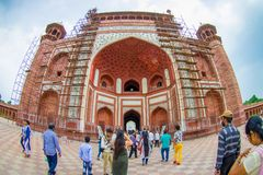 Agra, India - September 20, 2017: Unidentified people at the Great gate, Darwaza-i rauza, main entrance to the tomb Royalty Free Stock Photography