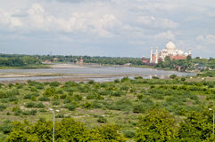 Agra, India. Taj Majal widok. Obrazy Royalty Free