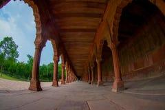 Agra Indien - September 20, 2017: Härlig sikt av en asfull bana med kolonner i rad inom av en byggnad på utomhus Royaltyfri Foto