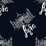 Agra label with hand drawn the Taj Mahal, lettering Agra on dark blue background. Seamless pattern, Agra label with hand drawn the Taj Mahal, lettering Agra on Stock Images