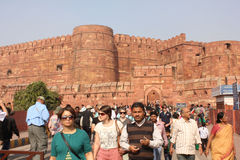 Agra ludzie i fort Zdjęcia Stock