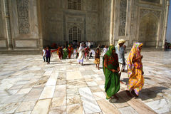 AGRA 30 MAY: People in the area of the Taj Mahal, one of the Seven Wonders of the World Royalty Free Stock Images