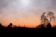 Agra Silhouette with Sun Light stock photos
