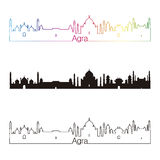 Agra skyline linear style with rainbow. In editable vector file Royalty Free Stock Image