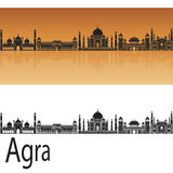Agra skyline. In orange background in editable vector file Royalty Free Stock Images