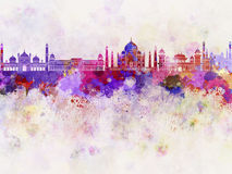 Agra skyline in watercolor. Background Stock Photos