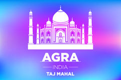 Agra Taj Mahal india vector blue background. Art Stock Photos