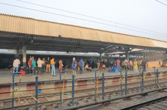 Agra train railway station India. People travel at Agra Cantt railway station in Agra India Stock Photography