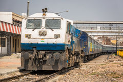 Agra train station. Atrain arriving at the railway station in agra india unesco site Stock Images