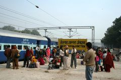 Agra train station, India. People waiting at Agra train station, India Royalty Free Stock Images