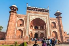 Agra, Uttar Pradesh, la India - 12 10 2017; Gran puerta, entran principal foto de archivo