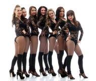 Agraciados emocionantes ir-van los bailarines aislados en blanco Imágenes de archivo libres de regalías