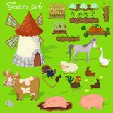 Farm animals - cow, pig, sheep, horse, rooster, chicken, turkey, chicken, goose, rabbit. Agraculture and mill. Cute cartoon in. Agraculture and mill. Farm vector illustration