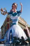 AGRADÁVEL, FRANÇA - 22 DE FEVEREIRO: Carnaval de agradável em Riviera francês O tema para 2015 era rei da música Agradável, Franç Imagem de Stock Royalty Free