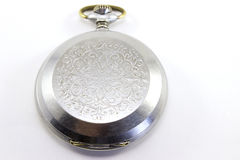 Agradável um relógio de bolso velho no fundo branco Fotografia de Stock Royalty Free