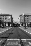 AGRADABLE, FRANCIA - CIRCA 2016: Jean Medecin Avenue, esta calle ofrece un cuadrado peatonal grande y es frecuentado por millares fotografía de archivo libre de regalías