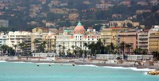 Agradable, Francia - riviera francesa con la opinión sobre el hotel Negresco Imagen de archivo