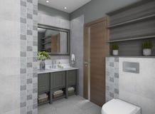 Agradable y Grey Modern Bathroom stock de ilustración