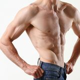 Agradecimentos da imprensa do ` s dos homens fortes à dieta e ao treinamento constante Fotos de Stock Royalty Free