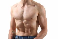 Agradecimentos da imprensa do ` s dos homens fortes à dieta e ao treinamento constante Imagem de Stock Royalty Free