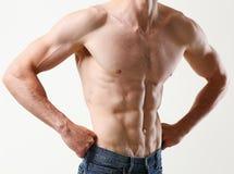 Agradecimentos da imprensa do ` s dos homens fortes à dieta e ao treinamento constante Fotografia de Stock Royalty Free