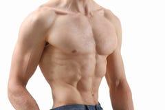 Agradecimentos da imprensa do ` s dos homens fortes à dieta e ao treinamento constante Fotografia de Stock
