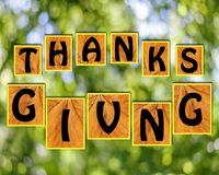 Agradecimentos que dão no fundo do blurr Imagens de Stock
