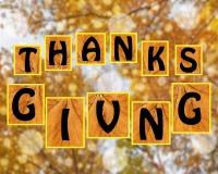 Agradecimentos que dão no fundo do blurr Fotografia de Stock