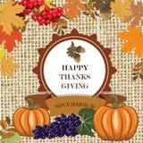 Agradecimentos que dão o cartão com folhas e frutos Imagem de Stock Royalty Free