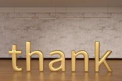 Agradezca las letras de la muestra en piso de madera ilustración 3D stock de ilustración
