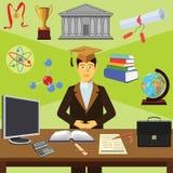 Agrafe art Éducation d'Infographics étudiant illustration stock