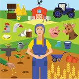Agrafe art Éducation d'Infographics Profession de l'agriculteur, production animale illustration libre de droits