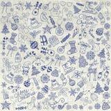 Agrafe-art de Pen Drawing Artistic Christmas Doodles de vecteur illustration stock