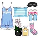 Agrafe Art Set - ensemble de mode de mode de collection de pyjama Photographie stock libre de droits
