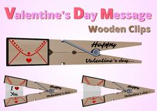 Agrafes en bois de messages de Saint-Valentin illustration stock