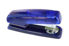Agrafeuse en plastique bleue d'isolement Photos libres de droits