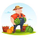 Agrarian or agricultural farmer in field. Holding vegetables. Man holding watermelon and tomato and pear in wooden bucket on field. May be used for farmer man Royalty Free Stock Photo