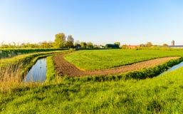 Agrarny krajobraz w Holenderskim polderu terenie Obrazy Stock