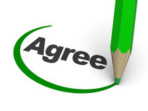 Agree. 3d illustration of agree sign with pencil stock illustration