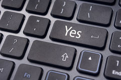 Agree concepts, yes on keyboard enter key Royalty Free Stock Photos