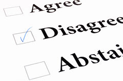 Agree disagree abstain form. On a white paper Royalty Free Stock Images
