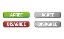 Agree and disagree buttons. Suitable for user interface vector illustration