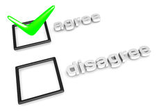 Agree/Disagree decision concept. 3D rendering of Agree/Disagree decision concept royalty free illustration